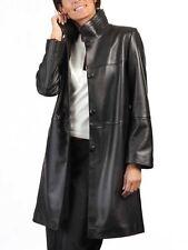 Black Leather Trench Coat Women's Genuine Lambskin Long Overcoat Winter Jacket