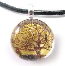 Klimt's The Tree of Life Glass Bubble Pendant Necklace