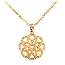 Fine 14k Yellow Gold Celtic Knot Round Flower Shape Pendant Necklace