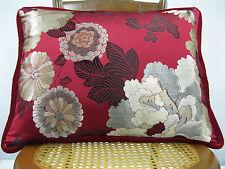 Jab Fabric Silk Pillow Fabricut Velvet Back & Cord 21 x 16 Feather/Down Insert