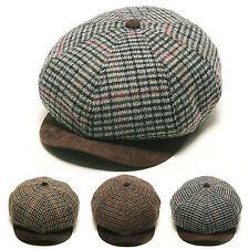 Unisex Mens Glen Check Corduroy Brim Flat Cap Newsboy Cabbie Gatsby Driver Hats