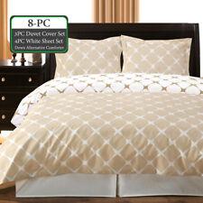 8PC Bundle- Includes Bloomingdale Duvet Cover- Sheet Set, Down Alt-Comforter