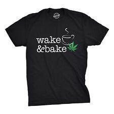 Mens Wake And Bake Tshirt Funny Morning Marijuana Legalization Tee For Guys