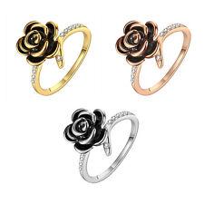 Rose Gold Platinum Plated Fashion Ring Black AAA Zirconia Women Flower B289