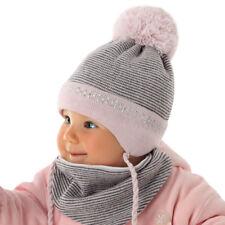 Baby Mädchen Set Wintermütze Schal Strickmütze Bommel Ajs Neu Weiß Rosa HüBsch Und Bunt Kindermode, Schuhe & Access.