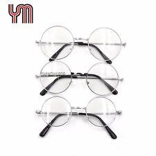 Clear Lens Glasses 60's Round Sunglasses Silver Frame Vintage Retro Hippy Lennon