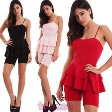 Overall donna tutina intera pantaloncino shorts ruches coppe zip nuova CJ-2555