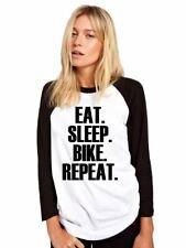 EAT Sleep BICI ripetere Baseball Top CICLISTA Regalo Base Ball Tee GIRLS SHIRT