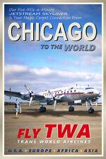 CHICAGO Illinois-TWA Constellation Airliner Retro Travel Poster - Art Print 095