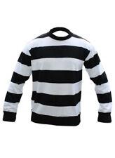 Unisex Children Black & White Stripe Convict Knitted Jumper Size 7-12 Years