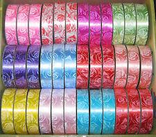 8m Geschenkband (0,31€/m), Rosenmuster, div. Farben, 2cm breit, Dekoband, NEU