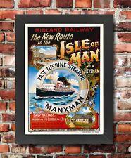 TS60 Vintage Isle Of Man Via Heysham Midland Framed Railway Poster Print A3/A4