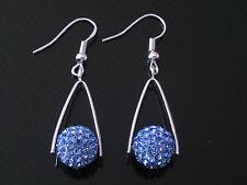 Shamballa azzurro cristallo da discoteca palla ORECCHINI PENDENTI NUOVI cc147