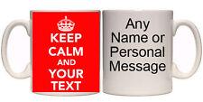 KEEP CALM AND ANY TEXT YOU WANT PERSONALISED MUG & COASTER (K5) 11oz + 15oz GIFT
