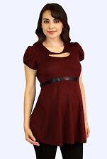 Bugundy Gothic Maternity Top Peephole Short Sleeve Ribbon Womens Top S M L XL