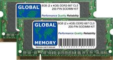 8GB (2 x 4GB) DDR2 667MHz PC2-5300 200-PIN SoDIMM Memoria RAM Kit per computer portatili