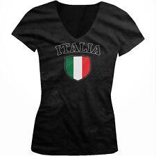 Italy Flag Crest Italia National Soccer Football Pride Juniors V-neck T-shirt
