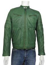 Para hombres Cuero Verde 2 Cremallera Chaqueta De Motorista Rock Moda
