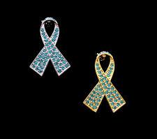 CRYSTAL TEAL RIBBON BOW OVARIAN CANCER AWARENESS BROOCH PIN SILVER GOLD TONE