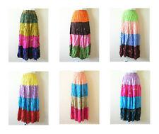 Bohemian Women Tie & Dye Boho Hippie Gypsy 4 Tiered Patchwork Skirt