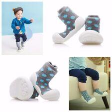 ATTIPAS POLKA DOT GREY barefoot crib shoes socks slip resistant infant toddler