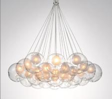 LAMPARA LED COLGANTE ESFERAS VIDRIO 7-13-19 x 1,5w - BLANCO CALIDO
