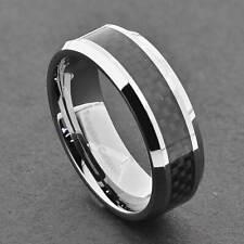 Tungsten Men's Black Carbon Fiber Stripe Band Ring Size 7-15 & half size
