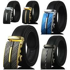 Men's Genuine Leather Dress Belt Adjustable Automatic Buckle Ratchet Belt