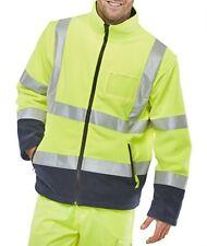 Hi Vis Unisex Fleece Jacket Detachable Sleeves & ID Pocket Safety Work Hi Viz