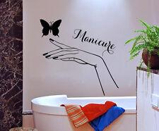 Beauty Salon Wall Decal Girl Hand Butterfly Vinyl Sticker Manicure Decor KI63