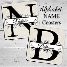 Personalised Alphabet NAME Coasters ~ Birthday Christmas gift N31 Drinks Mat