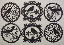 9 SILHOUETTE BIRD DOILIES CIRCLES BLACK ALSO IN WHITE
