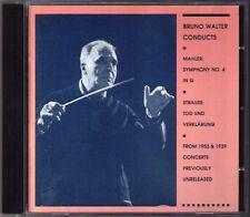 Bruno Walter: MAHLER SYMPHONY NO. 4 Strauss morte undverklärung CD Irmgard Seefried