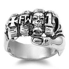 Men's Gang Fist Biker Ring Stainless Steel Brass Knuckles Cross Skull Sizes 9-15