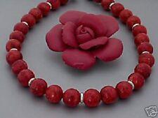 Korallen Kette Halskette Collier rot Damen Silber Ringe schöne neue Edelsteine