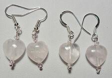 Rose Quartz heart earrings - Sterling silver or plated