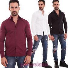 Camicia uomo casual basic slim fit tinta unita cotone manica lunga nuova H5050