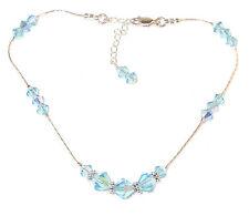 Bracelet Sterling Silver Swarovski Elements Aquamarine Blue Crystal Anklet Ankle