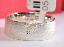 1 Trauring - Verlobungsring - Weißgold 333 Eismatt - Breite 7mm - Mit Diamant !