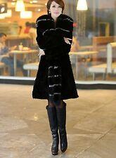 New RabbitFur  Big Fox Collar Women long Coat Jacket Overcoat  Garment