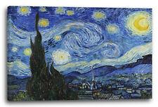 Lein-Wand-Bild Kunstdruck: Vincent Van Gogh - Die Sternennacht (1889)