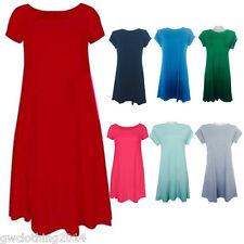 Ladies Women  *** CAP*** Sleeve Swing Skater Dress Shirt Dance Party Top Dresses