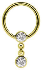 Intim Piercing Ring BCR 1,6mm vergoldet mit 2 Zirkonia Kugeln in 4mm und Kette