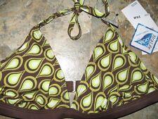 New misses SPEEDO Swimsuit HALTER TOP size 12 brown bikini back hook tie ADULT