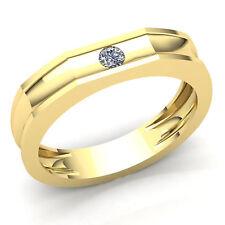 0.15ct Round Cut Diamond Mens Solitaire Anniversary Wedding Band 18K Gold