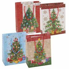 4x Surtido árbol de Navidad Estilo Bolsas Regalo Juego Fiesta cordón asas NUEVO