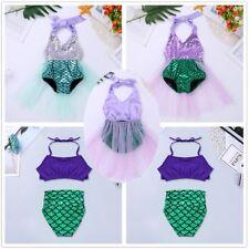 Girls Kids Baby One-piece Little Mermaid Swimsuit Halter Bikini Swimwear Costume