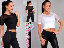 SEXY & elegante donna top manica corta t-shirt a girocollo DIMENSIONE 8-12 8367