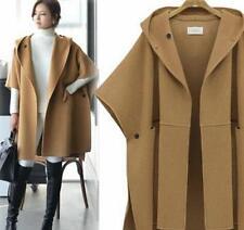 Womens Loose Wool Blend Hooded Cloak Cape Outerwear Windbreaker Parka Jackets@ T