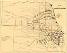 Old Railroad Map - Kansas, Nebraska Railroads - LOC 1865 - 23 x 28.80